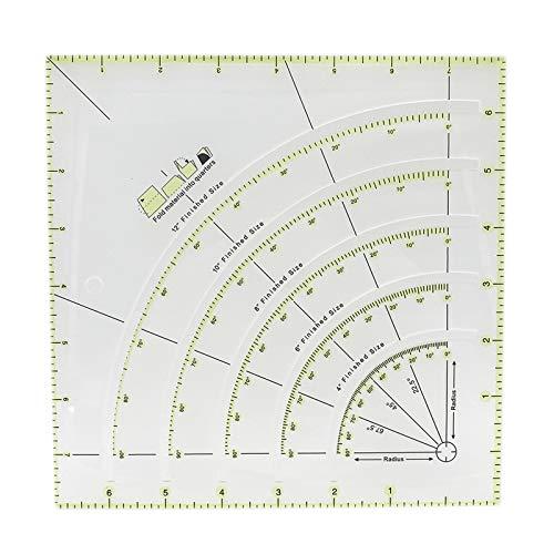 Regla de Acrilico Reglas de Costura de Acrílica Regla de Acolchado Reglas de Arcos y Abanico Regla Para Patchwork Regla de Transparente Regla Para Corte Para Coser Medir Pintura y Manualidades 1 Pieza