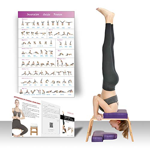 Restrial Life Taburete de yoga, para casa y gimnasio, acolchado de madera y poliuretano, alivio de la fatiga y construcción del cuerpo, color morado