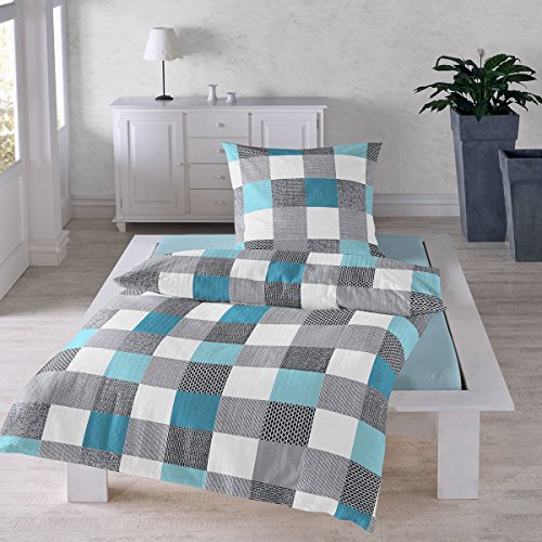 Traumschlaf Seersucker Bettwäsche Set • Luftig Leichte Sommerbettwäsche Im Quadrate Design Bügelfrei Mit Reißverschluss • 135x200 cm + 80x80 cm
