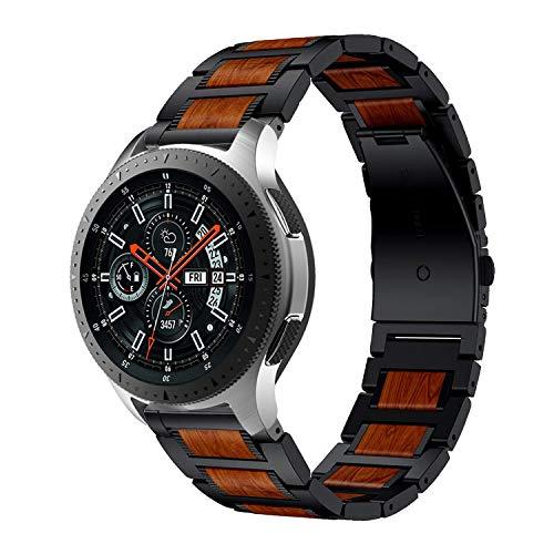 Anrir Compatible con Samsung Galaxy Watch Correa de 46 mm, 22 mm, color rojo sándalo para Samsung Galaxy Watch 3 de 45 mm, Garmin Vivoactive 4 de 45 mm, Fossil Gen 5 Carlyle hr/Garrett-Negro