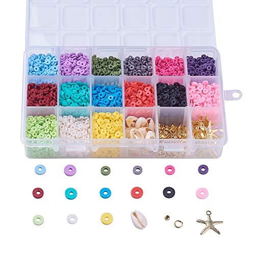 Airssory 4 mm Fabricación de joyas Kits de bricolaje Disco de cuentas de arcilla polimérica hecha a mano ambiental / Cuentas Heishi redondas planas para la fabricación de joyas