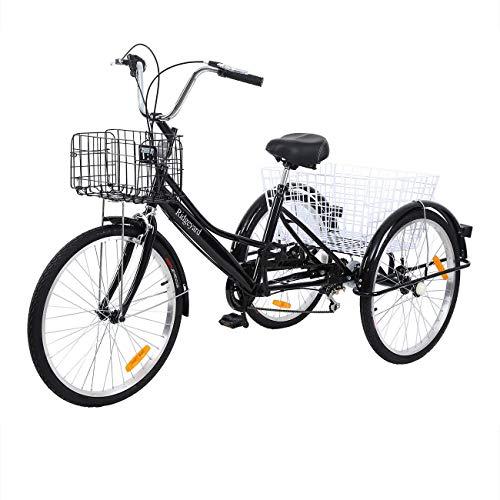 Yonntech 24 Zoll Zahnräder Dreirad für Erwachsene 7 Gänge Erwachsenendreirad Shopping mit Korb 3 Rad Fahrrad für Erwachsene Adult Tricycle Comfort Fahrrad City Urban