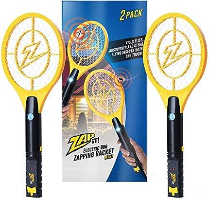 ZAP IT! Bug Zapper - Mosquito Recargable, Fly Swatter/Killer y Raqueta Bug Zapper - Carga USB de 4.000 voltios, luz LED súper Brillante para Zap in The Dark (Mini Twin)