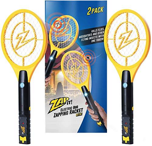 ZAP IT! Packung mit Zwei Elektronische Fliegenklatsche, Wiederaufladbar über USB, gegen Mücken, Fliegen und Käfer, 4000 V, superhelles LED-Licht (Mini Twin)