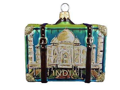 India Suitcase Taj Mahal Polish Glass Christmas Ornament Travel Souvenir