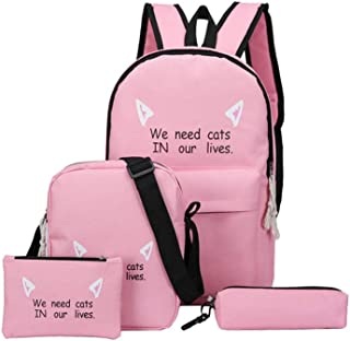 Women's Casual Fashion Backpack Set, Multi-Purpose Canvas Bag Set of Four,Pink