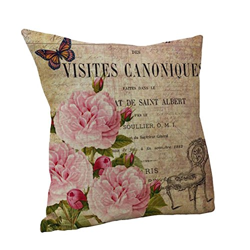 Nunubee Leinen Mix Sofa Vintage Blume Kissenbezug Quadrat Kopf Kissenbezug Art A
