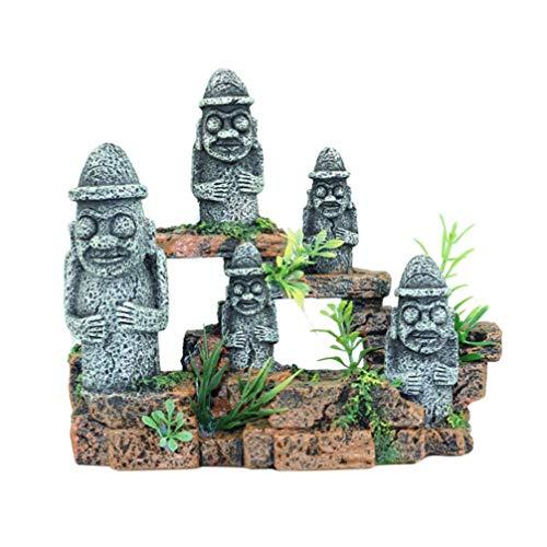 ZHTY Aquarium Moai Ornament Aquarium Osterinsel Statuen Dekoration Aquarium Landschaftsbau Schmuck Osterinsel Figur für Home Store Pool Office Dekoration