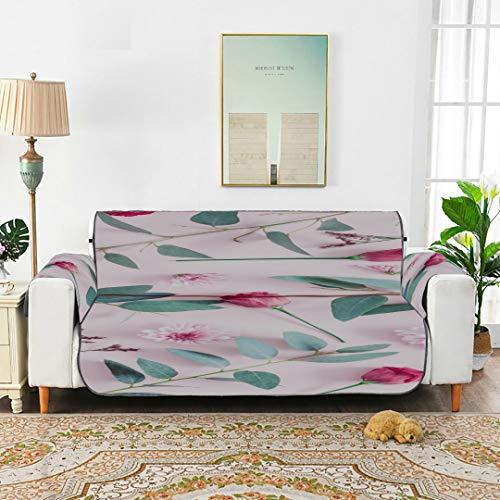 WDDHOME Pink Spring Romantic Flower Duftende Sofabezug für Kinder Sofakissen Sofakissen 66'(168 cm) für 3-Sitzer Maschinenwäsche...