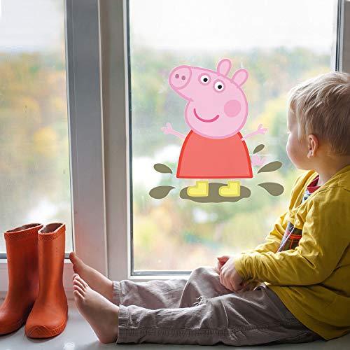H421ld Pegatina para ventana con diseño de Peppa Pig en charcos fangosos