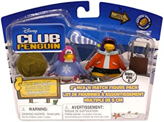 Club Penguin Disney Series 5 Mix 'N Match Mini Figure Pack Pajama Bunny Slippers & Snowboarder Includes Coin with Code!