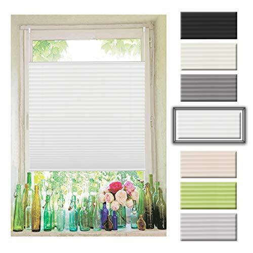 Easyfix Plissee Rollo Raffrollo ohne Bohren Klemmfix für Fenster 80x110cm (BxH) Weiß Plisseerollo Jalousie Sonnenschutzrollo Fensterrollo mitKlemmträger für Fenster und Tür