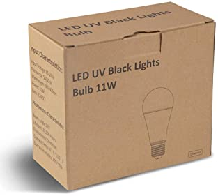 LUNSY 11W UV Light Bulb 2Pack, A19 Black Light Bulbs, E26/E27 Medium Base, UVA Level 385-400nm, Perfect for UV Party,...