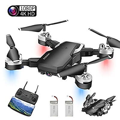 Drones with HD Cameras, Mini drone with WiFi FPV 4K 1080P HD Camera, Altitude Hold&Headless Mode&One Key Return&Custom Flight Path, Best Drone for Beginners, Kids and Adult (2 Batteries) (A)