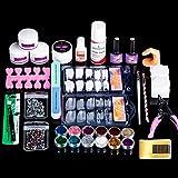 Acrylic Nails Kit Full Set for Beginners with Acrylic Powder Acrylic Liquid Monomer 12 Glitter Nail Tips Acrylic Nail Art Decoration Tools