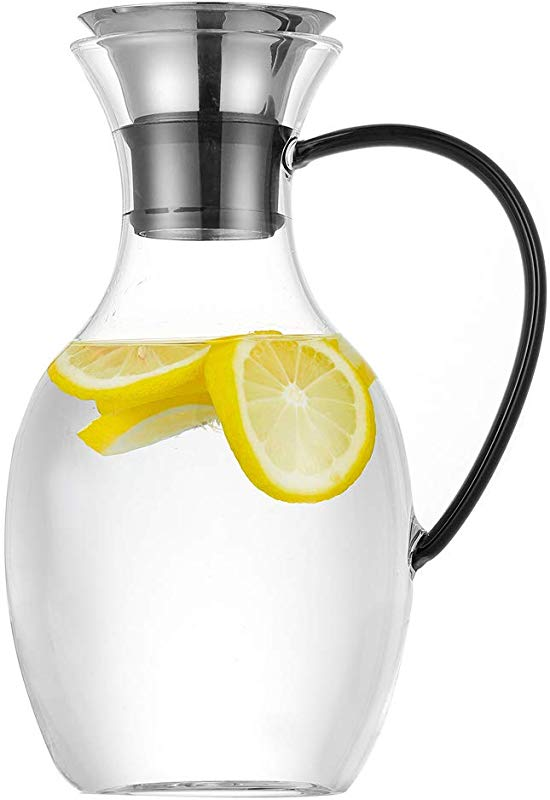 Purefold 50 Ounce Glass Pitcher With Drip Free Stainless Steel Lid Hot And Cold Water Carafe Fruit Tea Coffee Maker Ice Tea Pitcher Juice Jar Black Handle Series