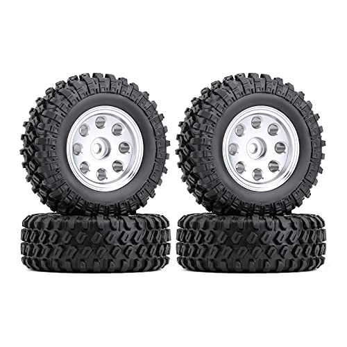 HYZZ Neumáticos de Coche de Juguete 4 Uds 1,0 '49 * 18mm Beadlock Micro Llantas De Rueda De Orugas Juego De Neumáticos para 1/24 RC Crawler Car Axial SCX24 90081 AXI00001 ( Size : 4PCS AX2404SR )