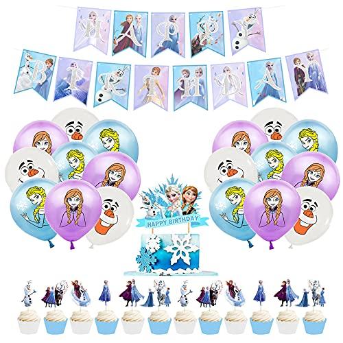 rosepartyh Decorazioni di Compleanno Congelatas Palloncini Decorazione per Torta Striscioni di Buon Compleanno Toppers per Cupcakes per Bambini Decorazione per Feste di Tema Frozen