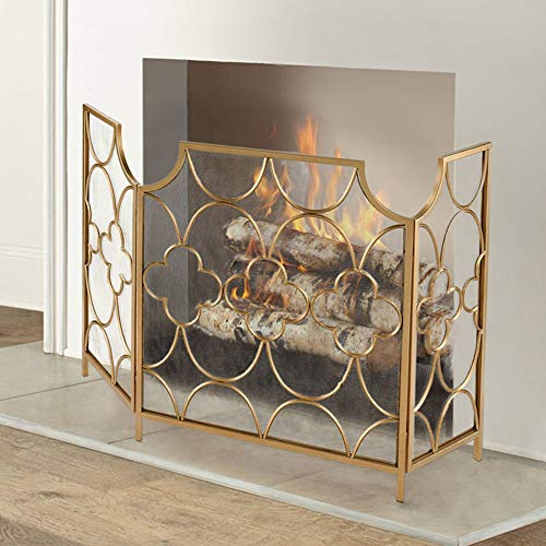 Buy Bargain ZAQI Living Room Fireplace Screen, Gold Spray Paint Large Flat Spark Guard Fire Screens,...