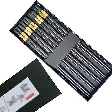 Wakaka 10 Pairs Melamine Chopsticks, Made With Non-Toxic Dishwasher-safe Reusable Luxury Chopstick Set (Black and Gold)