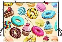 X7x5ft漫画の写真の背景漫画のケーキクッキーお菓子ロリポップ写真の背景子供のためのテーマパーティーの装飾部屋の壁画LYZY0298