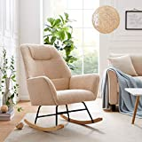Tribesigns Nursery Chair Rocking Chair, Modern Microfiber Lamb Wool Accent Chair Armchair with Solid Wood Base, Upholstered Cute Nap Chair Single Sofa Chair for Home Living Room Bedroom (Camel)