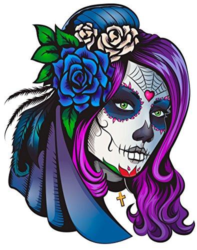 Oedim Pack 5 Pegatinas Coche Ilustración Chica Día de los Muertos 16 x 16 cm | Adhesivo de Fácil Colocación | Pegatina para Coche Económica y Resistente