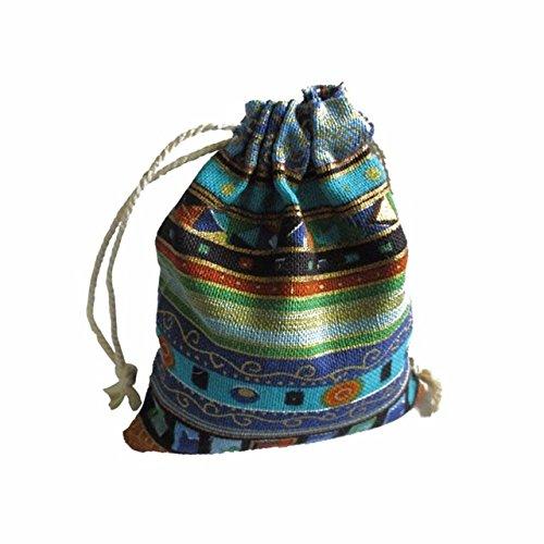 PXN 9.5 * 12cm 50 pièces de Sac à Bijoux en Coton Pur Sac Cadeau Ethnique Sac à Cordon Sac de Bijoux de Noël Sac de Mariage/Bonbons, Bleu Ciel
