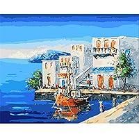 DIY数字によるデジタル絵画パッケージ沖のsh油絵壁画キットぬりえ壁アート画像ギフトフレームなし40×50センチ