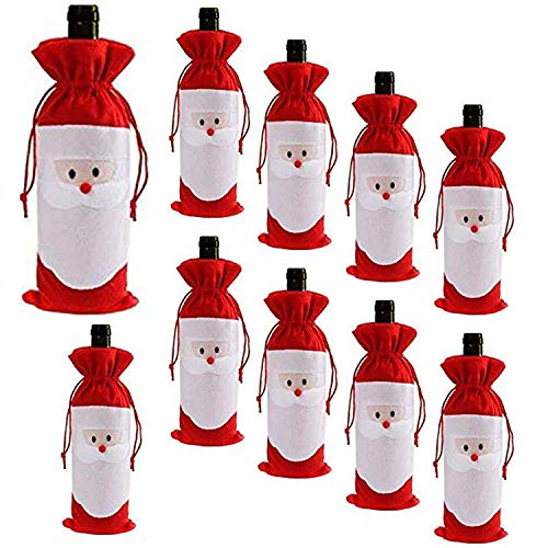 D-Fokes 10PC Christmas Santa Claus Wine Bottle Cover Bags Home Party Decoration