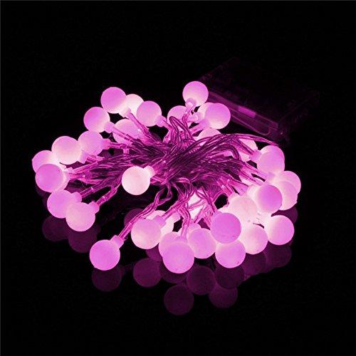 Happyit 3.5M 30pcs LED Boule chaîne lumières Lampes à Cordes pour Nouvel an Noël Décorations Fête de Mariage Feuilles Jardin de décoration intérieure (Rose)