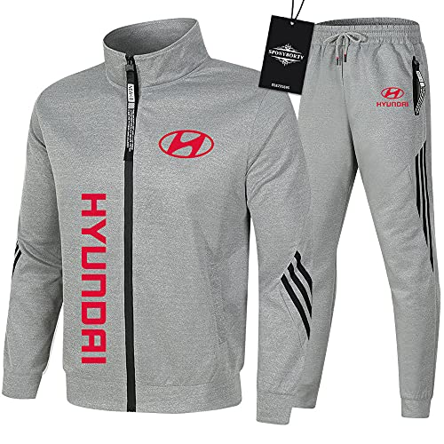 Ashleyy de Los Hombres Chandal Conjunto Trotar Traje Hyu.n-dai Hooded Zipper Chaqueta + Pantalones Sudadera Baloncesto Ropa Colocar / gray/XXL