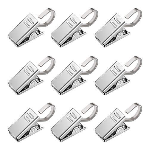 30 Packung Metall Clips Haken für Gardinen & Vorhänge Vorhangringe mit Clip Duschvorhang Metallklammern,rutschfest, multifunktional,zum Aufhängen von Partybeleuchtung,Vorhängen, Wäsche,Fotos,Silber