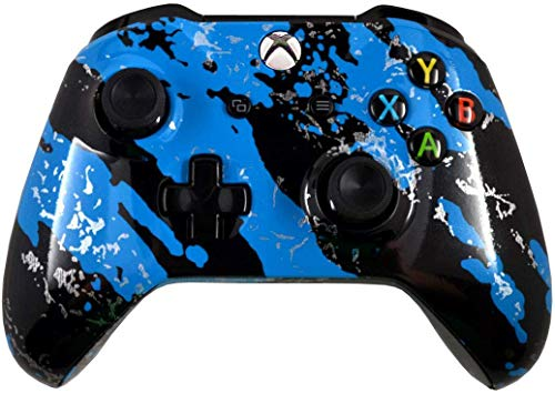 5000+ Modded Controller for Microsoft Xbox One - Custom Design That Works on All Shooter Games - Series X Compatible (Modded, Glossy Blue Splatter)