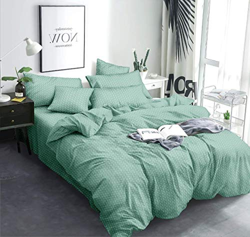 MORADO Glace Cotton Double Bed King Size Quilt Cover / Duvet Cover / Rajai Cover / Blanket Cover with Zipper (90X100 Inch, Green)