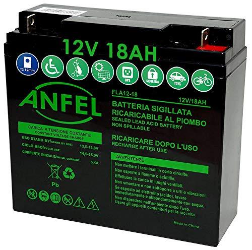 ANFEL Batteria Ricaricabile 12V 18Ah Batteria al Piombo ermetica Ricaricabile per ups Gruppi di continuità antifurti allarmi avviamento trattorino rasaerba
