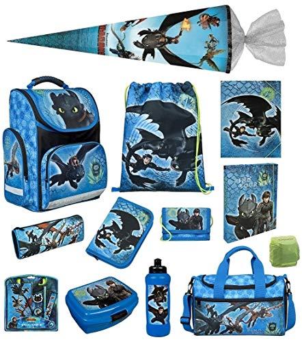 Familando Scooli Schulranzen-Set 17 TLG. Dragons - Drachenreiter von Berg - mit Federmappe Dose Flasche Sporttsche Schultüte 85cm und Regenschutz