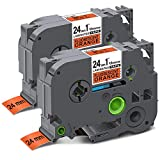 Unismar Compatible Label Tape Replacement for Brother P-Touch TZe-B51 for PT-D600 PT-P700 PT-2430PC PT-D600VP PT-D800W PT-P900W PT-P950NW Label Maker, 1' x 26.2', Black on Fluorescent Orange, 2-Pack