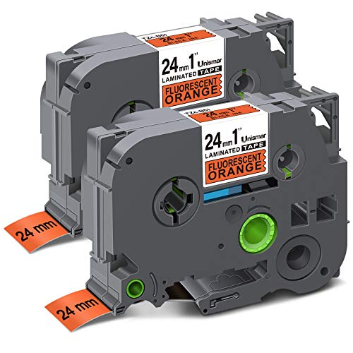 "Unismar Compatible Label Tape Replacement for Brother TZe-B51 for PT-D600 PT-P700 PT-2430PC PT-D600VP PT-D800W PT-P900W PT-P950NW Label Maker, 1"" x 26.2', Black on Fluorescent Orange, 2-Pack"