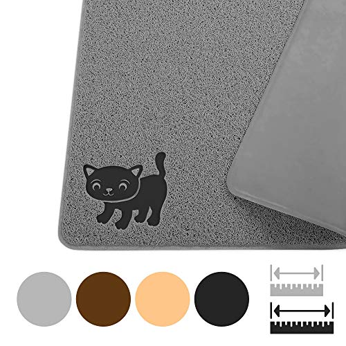 "Smiling Paws Pets Double Extra-Large Kitty Litter Mat - Cat Rug - Cat Litter Box Trapping Pad - Easy to Clean Cat Mat - Non-Slip Pet Rug - Litter Box Mat - Kitty Litter Catcher 47"" x 33"" (XXL)"