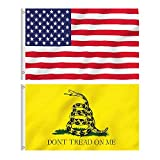 American USA Flag and Gadsden Don't Tread On Me Flag, 2 Polyester Flags , 3 x 5FT, Bright Colors And UV Fading Resistance, Double Stitched And Flags With Brass Grommets