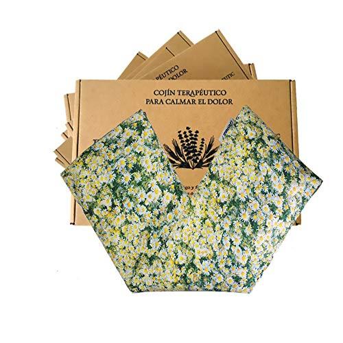 Saco semillas microonda, saco térmico de semillas con funda lavable 100% algodón(48x15) con Manzanilla, lavanda natural y trigo. Cojín térmico para cervicales y cólicos. Retención de frio y calor