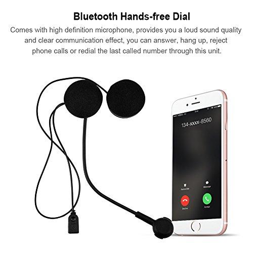 garsent Auriculares Bluetooth de Motocicleta, HiFi Estéreo Bluetooth 4.0 Casco de Moto Bluetooth Intercom Auriculares con micrófono HD para Casco de Motocicleta.