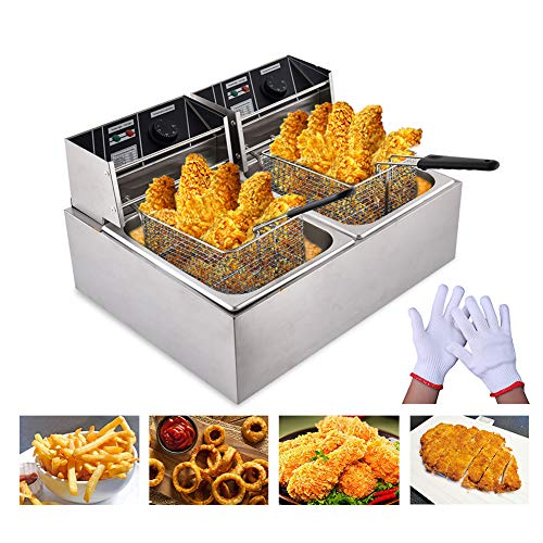 Peitten 8L+8L Electric Deep Fryer, 16L Commercial Deep Fryer with Basket & Lid & Temperature Limiter, Upgrade Professional Frying Machine, Stainless Steel French Fryer for French Fries Fish Turkey