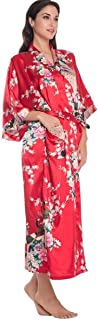 MSYS Silk Kimono Japanese Inspired Peacock Robe Dressing Gown