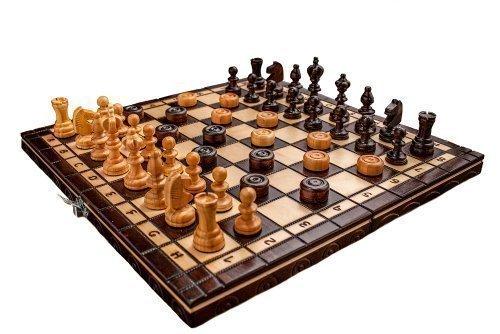 Handgemaakt kersenhouten schaak- en damesset 35 x 35 cm