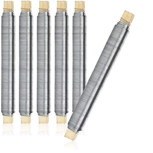 com-four® 6X Blumenwickeldraht-Set, Bindedraht verzinkt, auf Holzstab gewickelt, Stärke 0,65 mm, 600 g