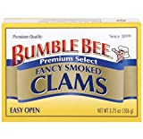Bumble Bee Premium Select Smoked Clams, 3.75 Ounce Cans (Case of 12), Oysters Canned, High Protein, Keto Food and Keto Snacks, Gluten Free, Canned Food (Packaging May Vary)