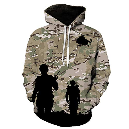 UNUStyle Hoodie 3D Maple Leaves Camouflage Helicopter Printed Männer Frauen Outdoor Angeln Camping Jagd Kleidung Mäntel Tops Lightweight Breathable Bequem, XL