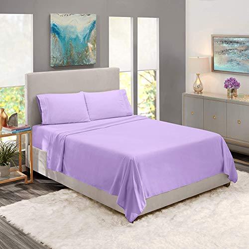 Family Bedding Sábana Bajera Ajustable para Cama de Matrimonio, 100% algodón Morado Lila. Talla:160 x 200 cm